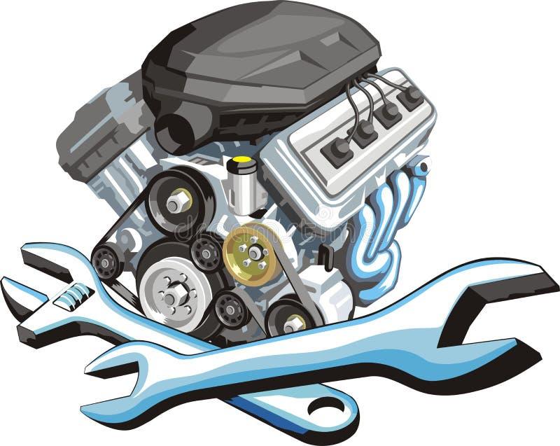 De reparatie van de motor van een auto royalty-vrije illustratie