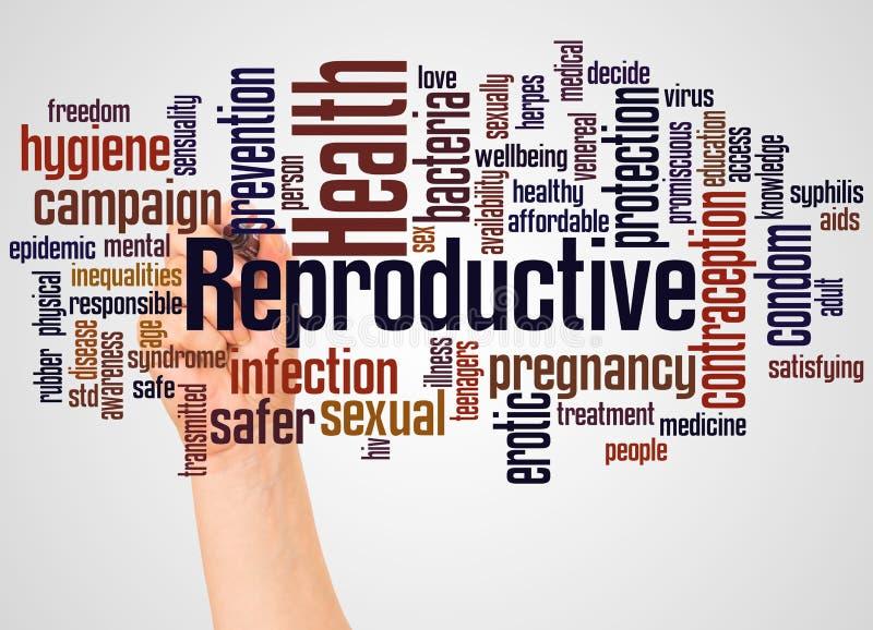 De de reproductieve wolk en hand van het Gezondheidswoord met tellersconcept stock foto
