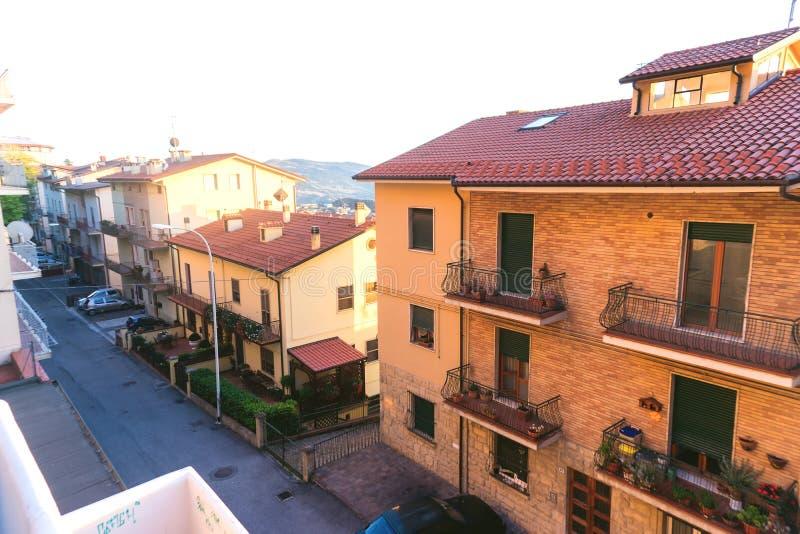De republiek van San Marino Architectuur van oude stad in San Marino royalty-vrije stock fotografie