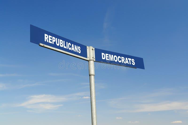 De republikeinen versus Democraten voorzien van wegwijzers stock afbeelding