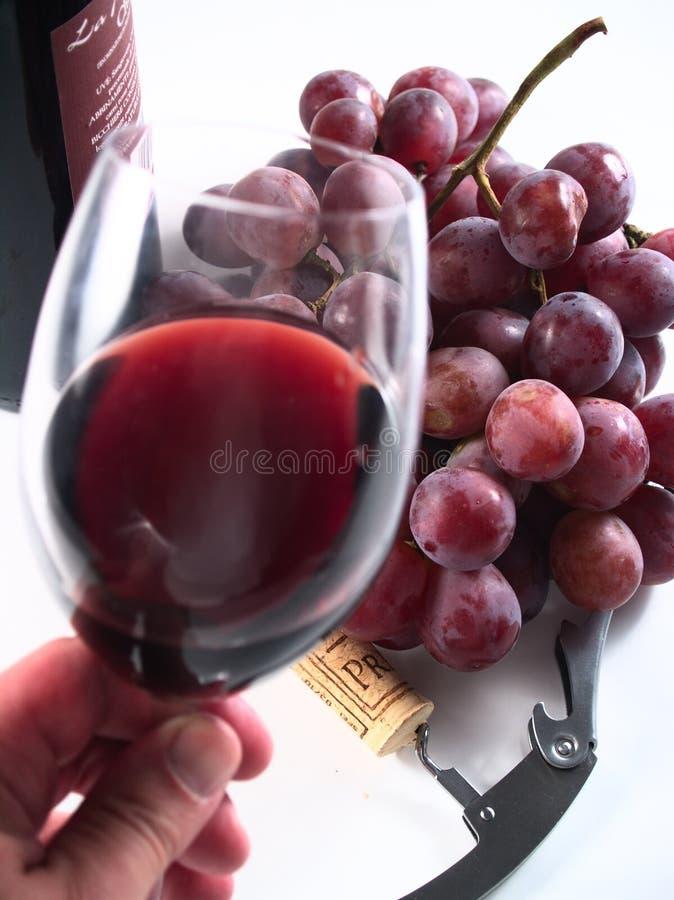 De reserve rode wijn van de chianti, glas, druiven stock afbeelding