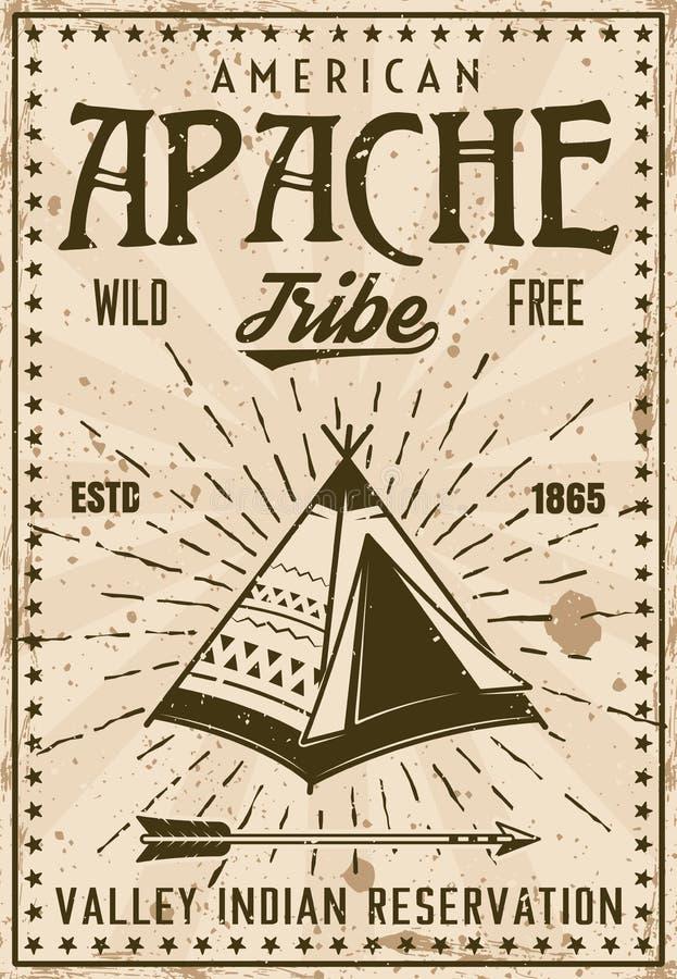 De reserve uitstekende affiche van de Apache Indische stam vector illustratie