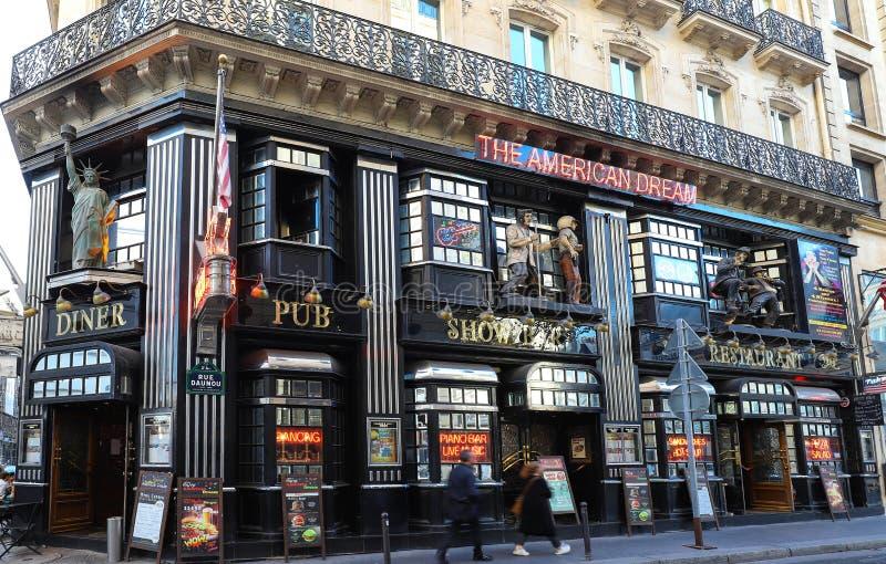 De restaurant beroemde Amerikaanse Droom, dichtbij Operadistrict, Parijs, Frankrijk royalty-vrije stock foto