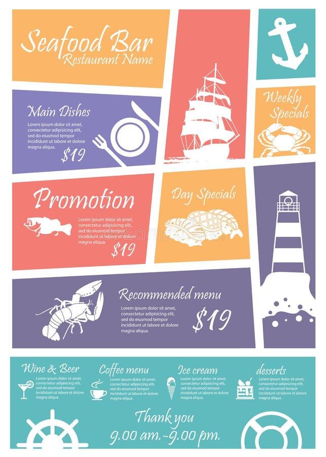 De restaurantstekens van menuzeevruchten, Affiches stock illustratie