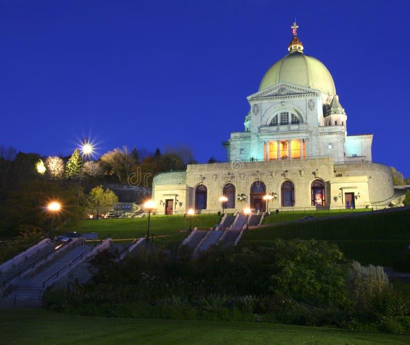 De Retorica van heilige Joseph's bij nacht, Montreal, Canada stock afbeelding