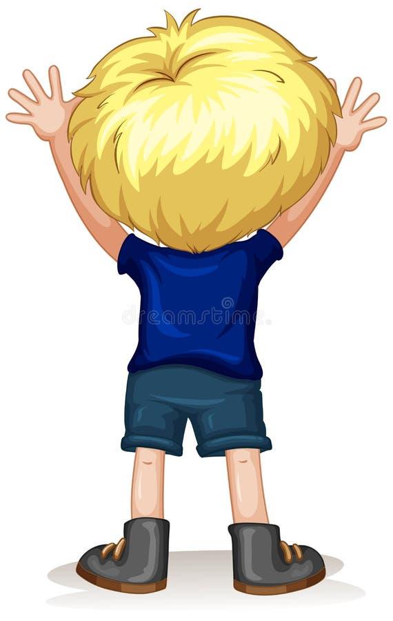 De retour d'un petit garçon avec les cheveux blonds illustration de vecteur
