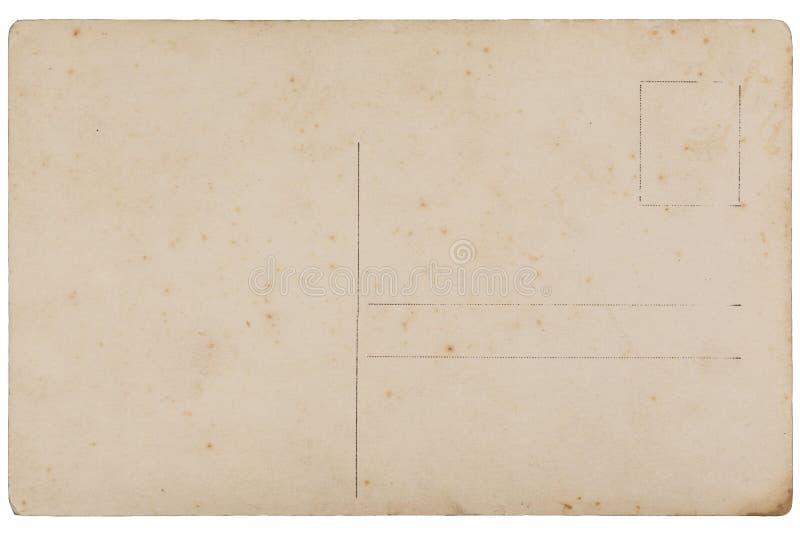 De retour de la carte postale de blanc de vintage images stock