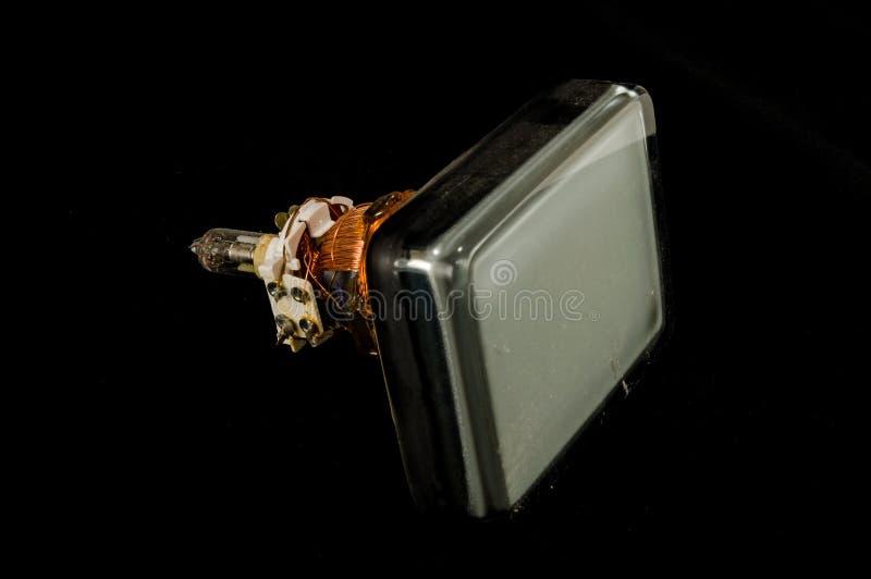 De retour du vieux tube de cathode de télévision d'isolement photo stock