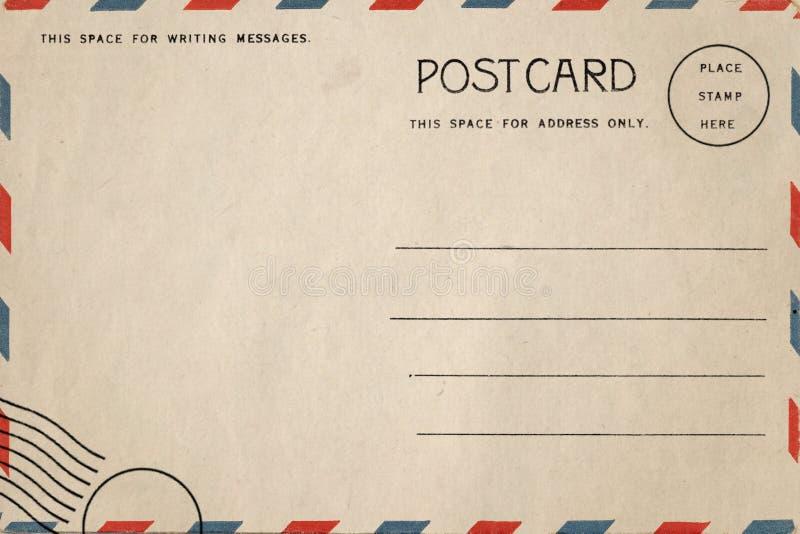De retour de la carte postale de blanc de vintage images libres de droits