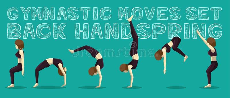 De retour saut de mains réglé par mouvements gymnastiques Manga Cartoon Vector Illustration illustration de vecteur