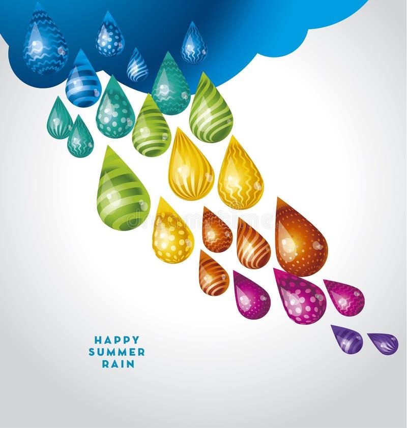De reusachtige grappige daling van de waterregen in regenboogkleuren royalty-vrije illustratie