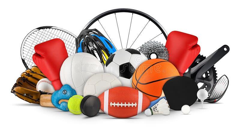 De reusachtige inzamelingsstapel van het toestelmateriaal van sportballen van diverse sporten isoleerde witte achtergrond stock fotografie