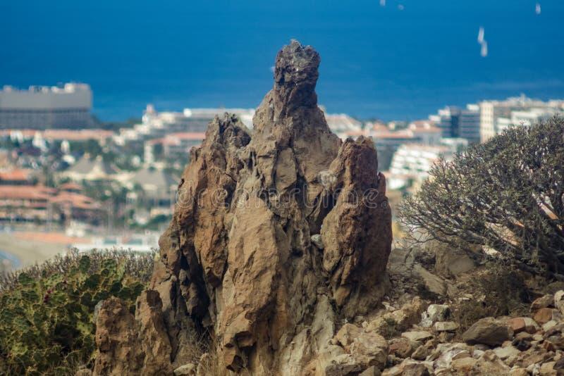 De reusachtige mystieke lavarots surraunded door Canarische endemische installaties Los Cristianos mening van Guaza-Berg Tenerife royalty-vrije stock foto