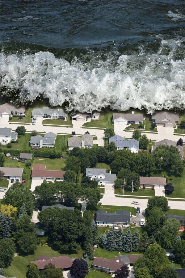 De reuze Natuurramp van het Golf Tsunami stock fotografie