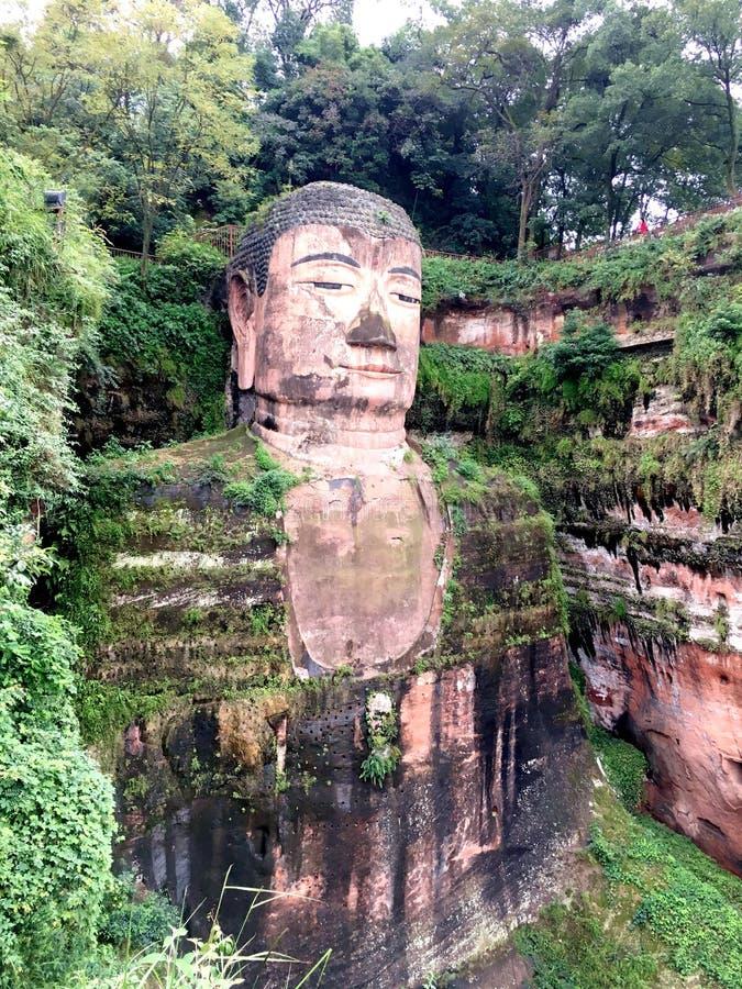 De Reuzeboedha steen van Leshan snijdt in de provincie van Sichuan in China royalty-vrije stock foto's