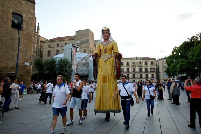 De reuzen paraderen in La Mercè Festival 2013 van Barcelona stock foto