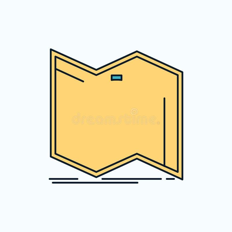 De richting, onderzoekt, brengt in kaart, navigeert, navigatie Vlak Pictogram groene en Gele teken en symbolen voor website en Mo vector illustratie