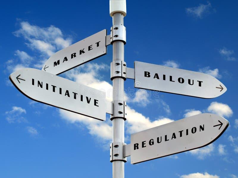 De richtingenteken van de economie royalty-vrije stock afbeeldingen