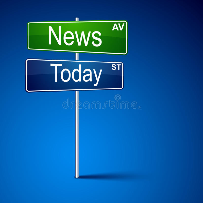 De richtingsverkeersteken van het nieuws vandaag. vector illustratie