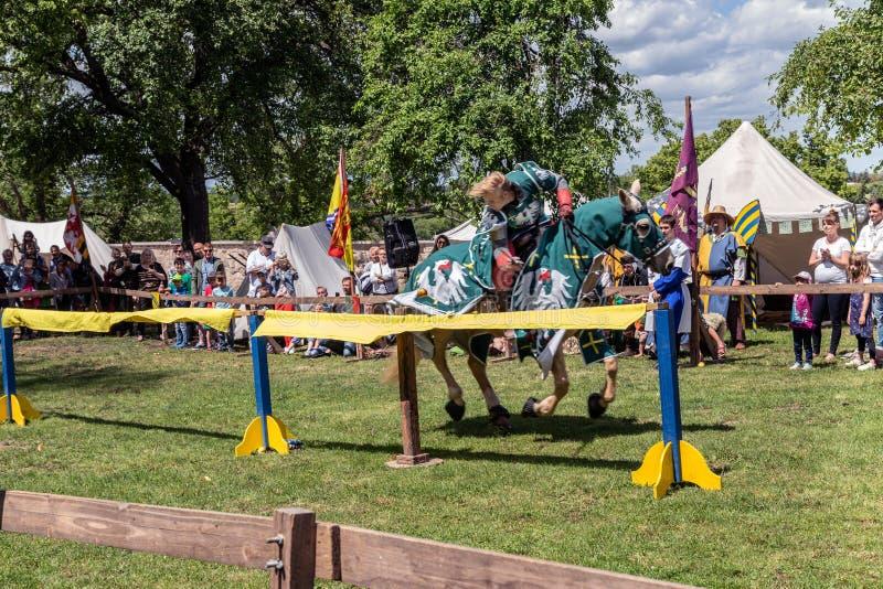 De ridder behandelt een nauwkeurige slag royalty-vrije stock afbeeldingen