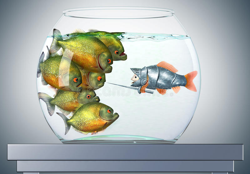 De ridder en de piranha's van de goudvis vector illustratie