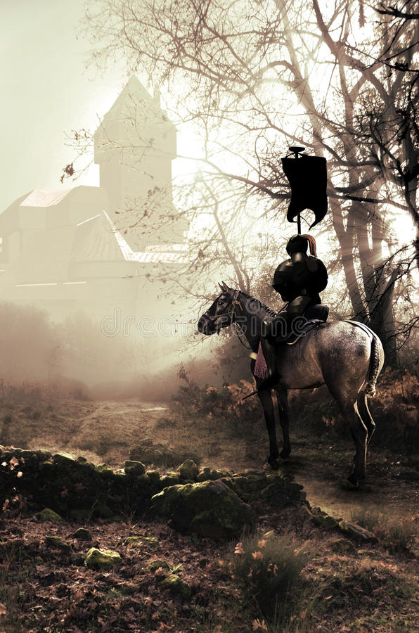 De ridder en het kasteel royalty-vrije illustratie