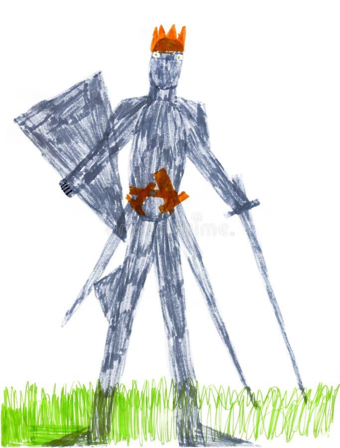 De ridder van de de verfkoning van de kinderen van de close-up royalty-vrije illustratie