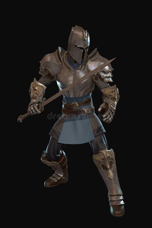 De ridder van het fantasiekarakter met 3d zwaard geeft terug royalty-vrije illustratie