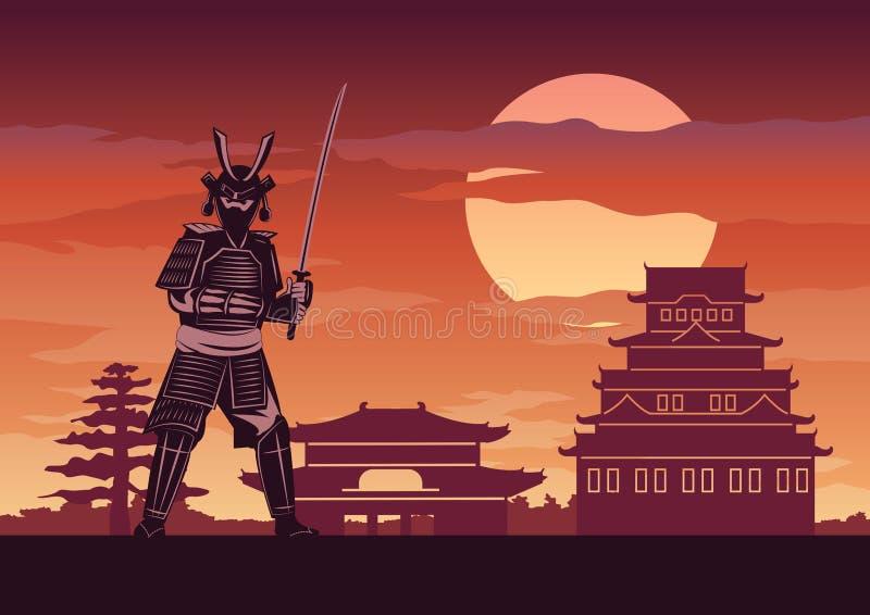 De ridder van Japan geroepen Samoeraien stelt voor kasteel vector illustratie