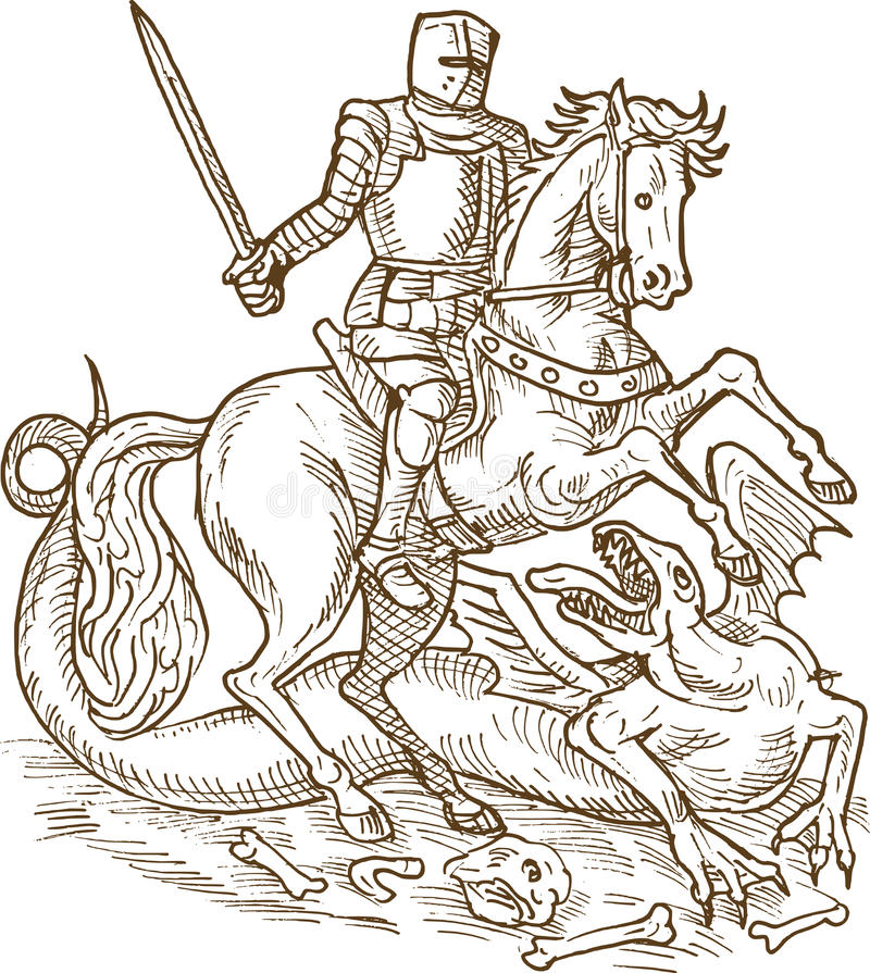 De Ridderdraak Van Heilige George Royalty-vrije Stock Afbeelding