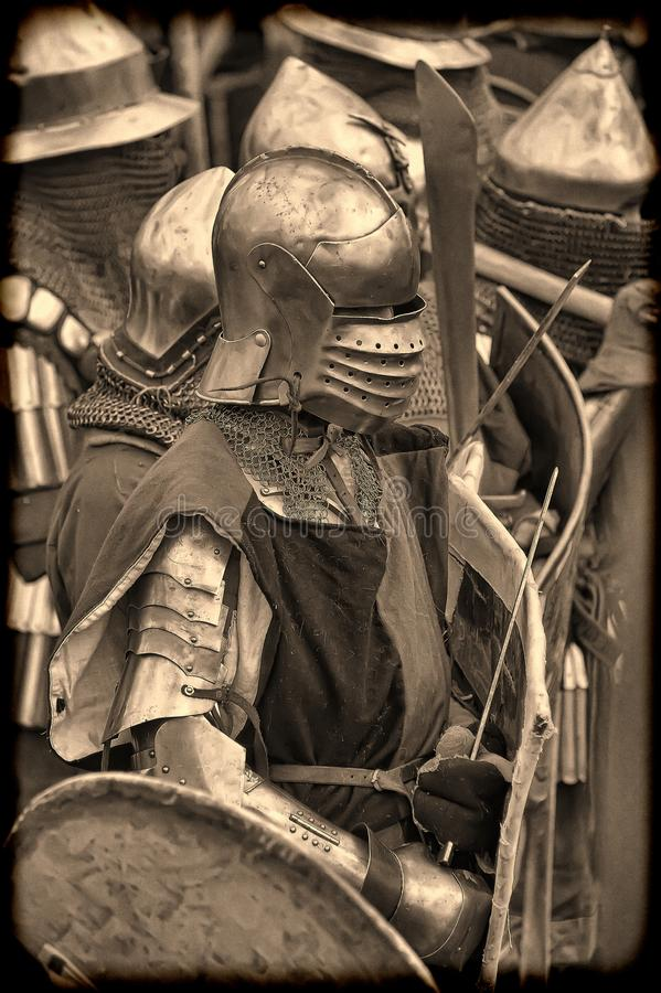 De ridders vechten in de toernooien royalty-vrije stock afbeeldingen