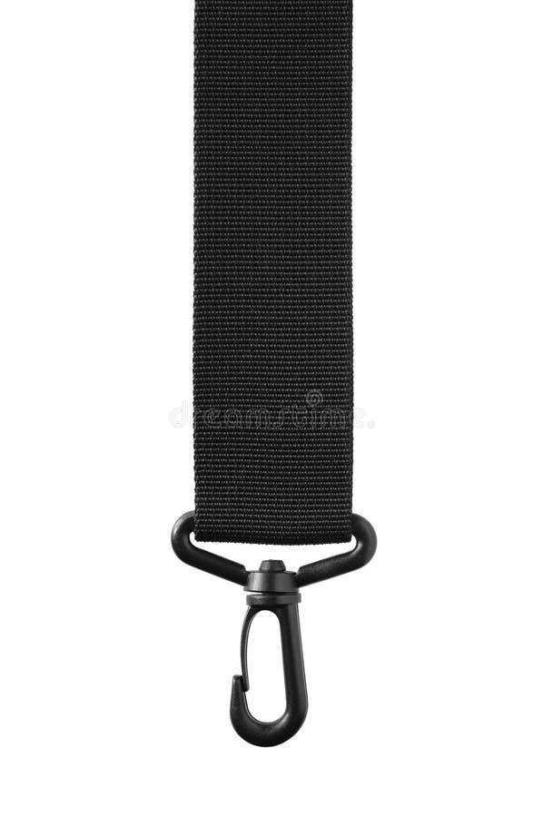 De riemsleutelkoord van de zwart bandkabel, hangende plastic greep onverwachte klink royalty-vrije stock afbeeldingen