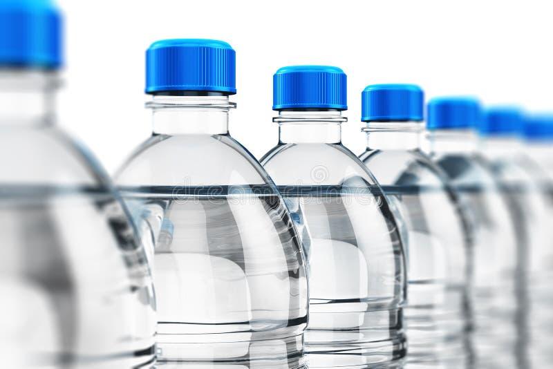 De rij van plastiek drinkt waterflessen stock illustratie