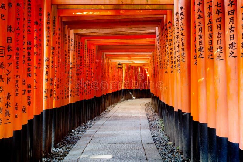 De rijen van Torii-Poorten leiden de heuvel bij het Heiligdom van Fushimi Inari, Kyoto Japan royalty-vrije stock foto