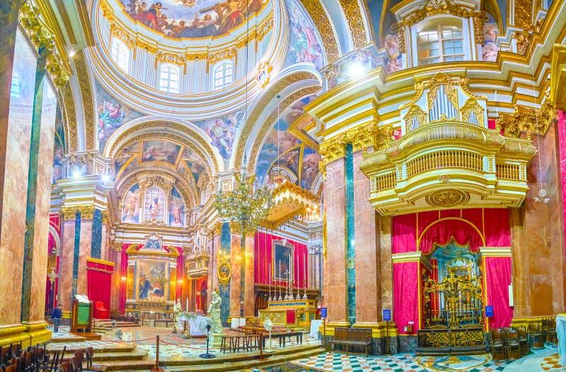 De rijk verfraaide Kathedraal in Mdina, Malta royalty-vrije stock fotografie