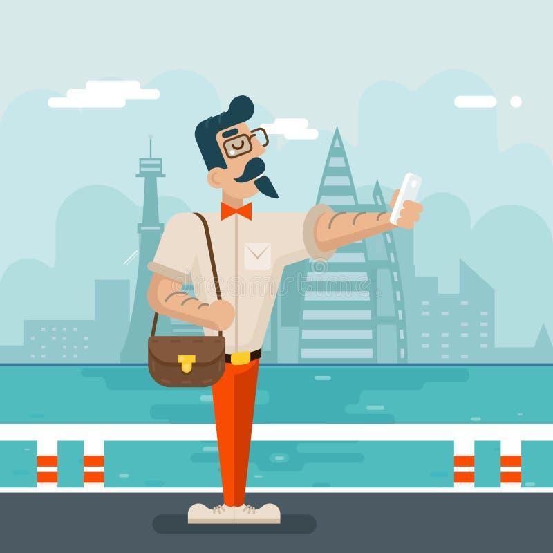 De rijke van de Telefoonselfie van Beeldverhaalhipster Geek Mobiele Zakenman Character Icon op Modieuze Stadsachtergrond Vlak Ont royalty-vrije illustratie
