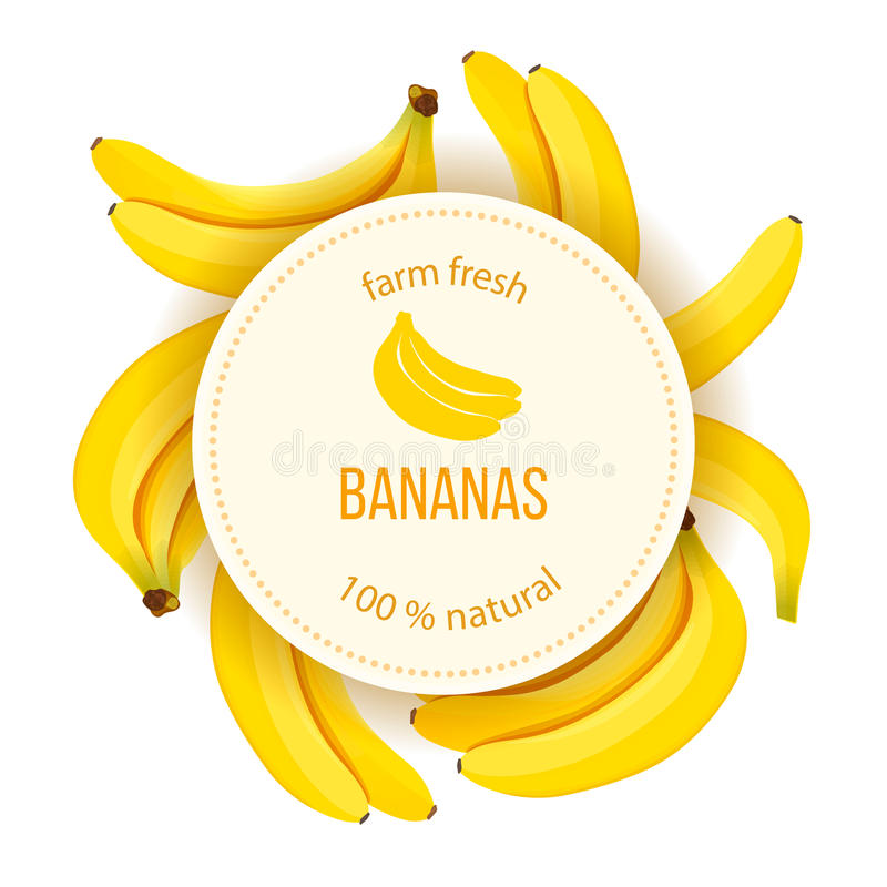 De rijpe Bananen rond cirkelkenteken met tekst bewerken verse natuurlijk vector illustratie