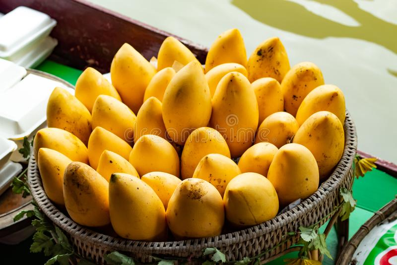 De rijpe gele mango op een bamboemand stock foto