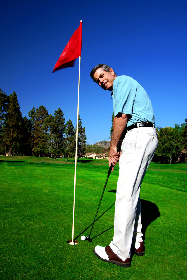 De rijpe Golfspeler van de Mens royalty-vrije stock afbeelding