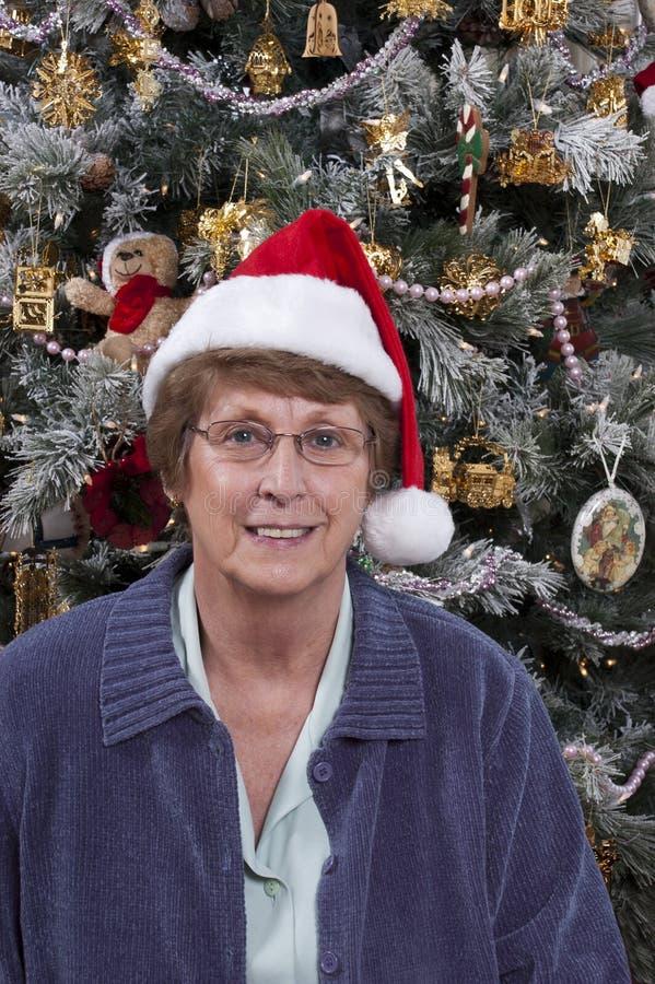 De rijpe Hogere Kerstboom van de Hoed van de Kerstman van de Vrouw royalty-vrije stock fotografie
