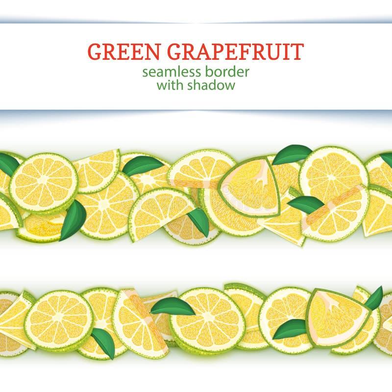 De rijpe horizontale naadloze grenzen van het grapefruitfruit De vector Brede en smalle eindeloze strook van de illustratiekaart  vector illustratie