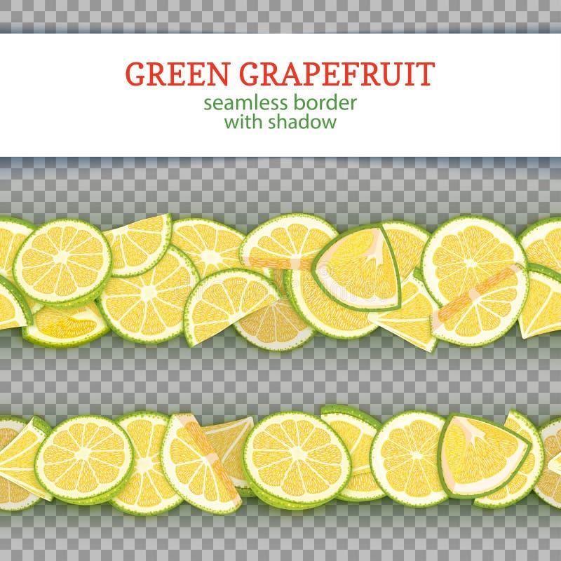 De rijpe horizontale naadloze grenzen van het grapefruitfruit De vector Brede en smalle eindeloze strook van de illustratiekaart  royalty-vrije illustratie