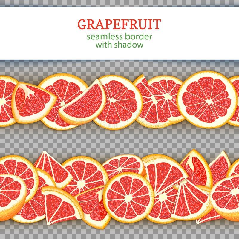 De rijpe horizontale naadloze grenzen van het grapefruitfruit De vector Brede en smalle eindeloze strook van de illustratiekaart  stock illustratie