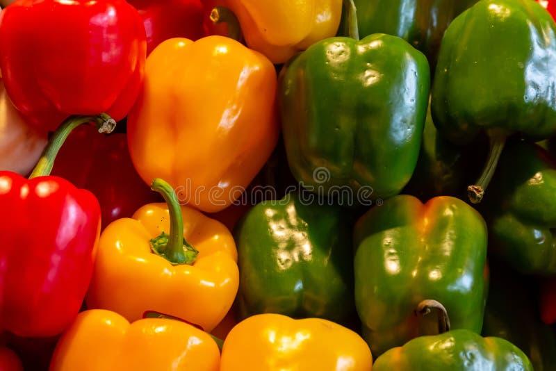 De rijpe salade van het de peuleningrediënt van de groenten grote peper Bulgaarse rode geelgroene heldere glanzende royalty-vrije stock foto's