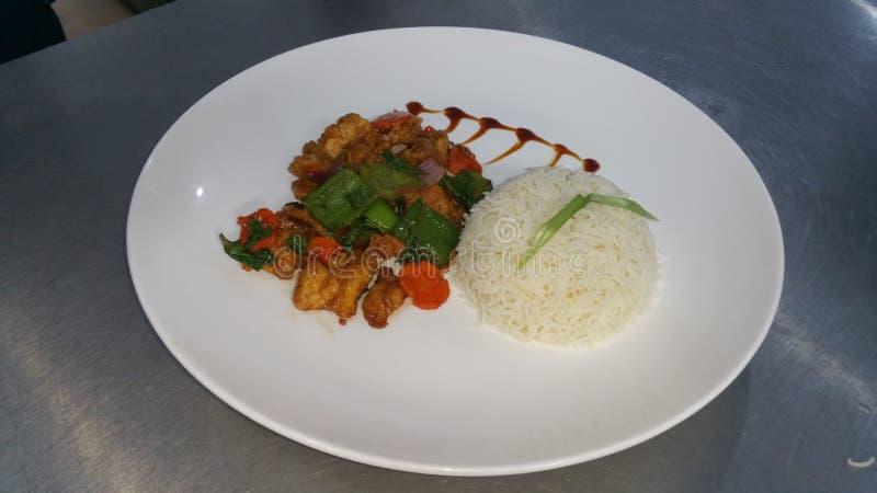 de rijst en de kip van ruggegratenspaanse pepers pice royalty-vrije stock foto