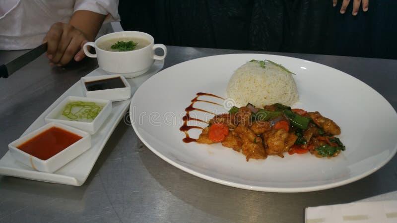 de rijst en de kip van ruggegratenspaanse pepers pice en sope royalty-vrije stock afbeeldingen