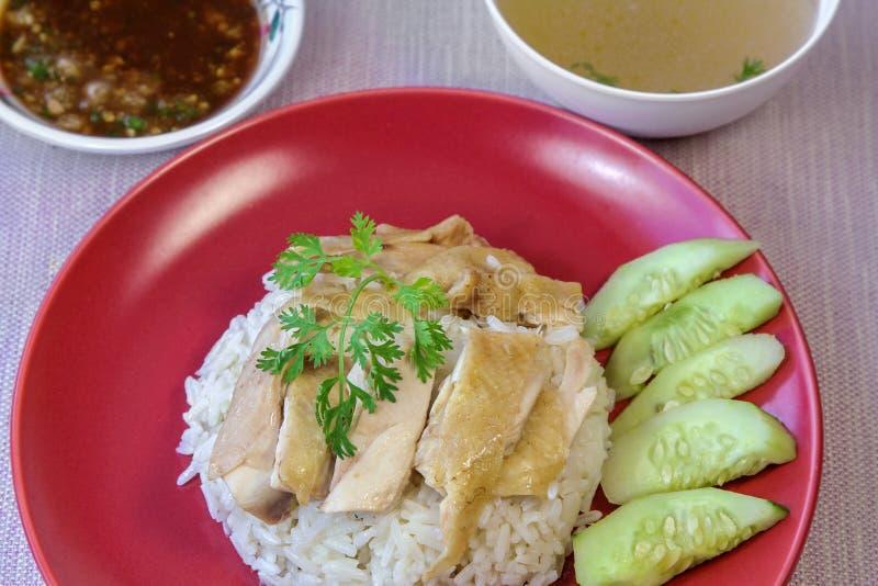 De Rijst van de Hainanesekip met saus en soep royalty-vrije stock foto