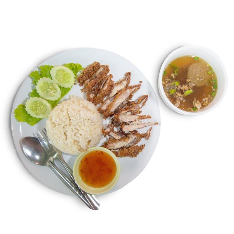 De rijst van Hainanesefried chicken stock afbeeldingen