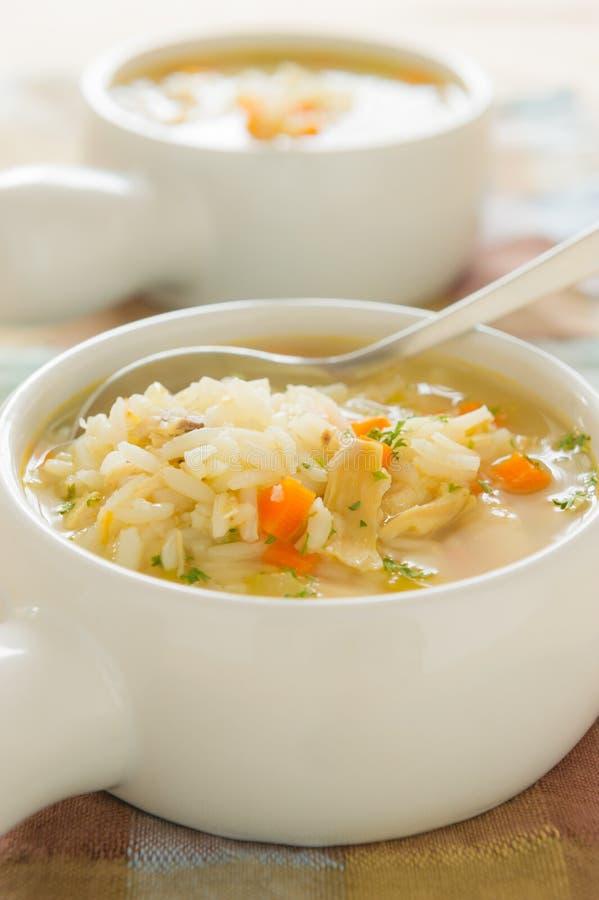 De rijstsoep van de kip stock afbeeldingen
