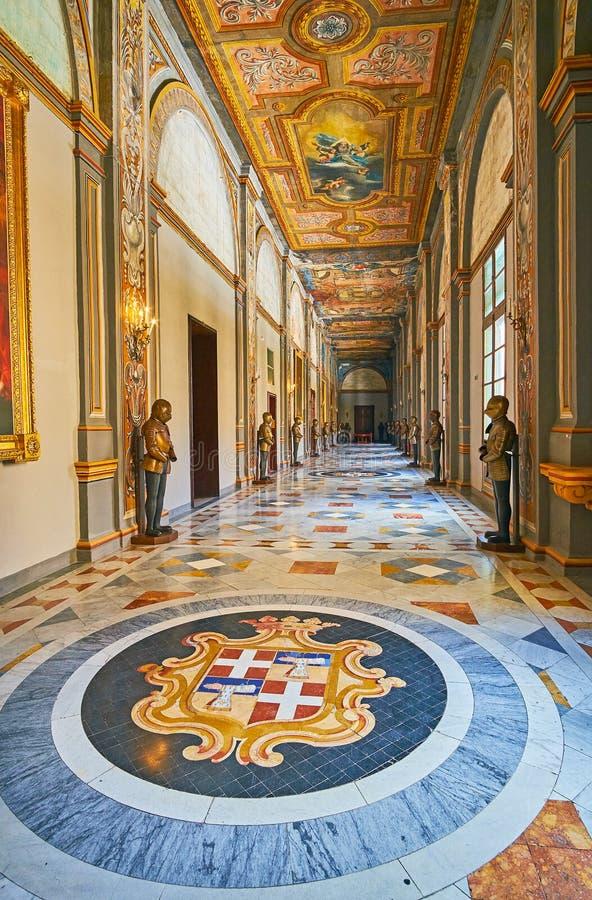 De rika garneringarna av slotten för Grandmaster` s, Valletta, Malta arkivbild